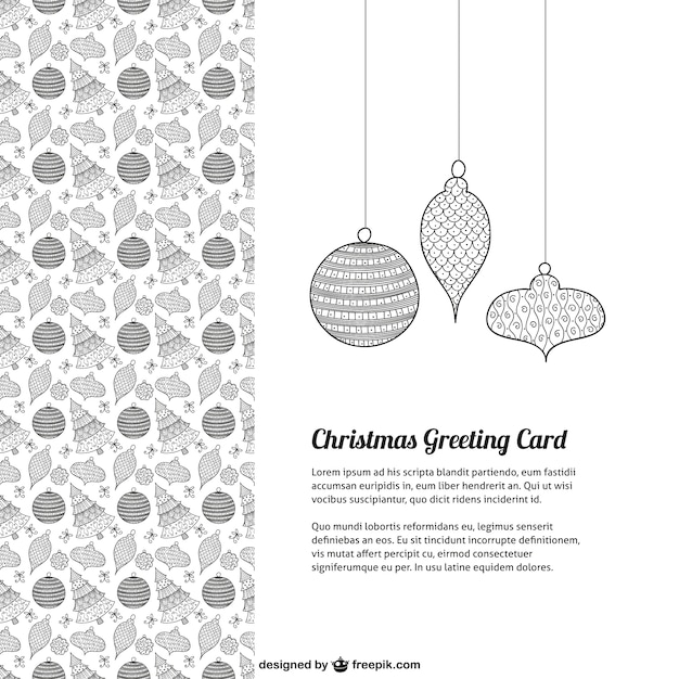 Black And White Christmas Greeting Card Vector Free Download