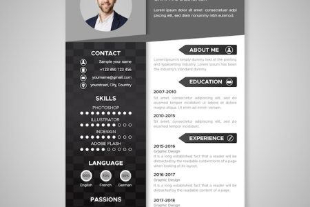 Black and white resume template Vector   Free Download Black and white resume template Free Vector