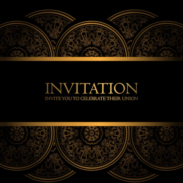 free vector black and gold invitation