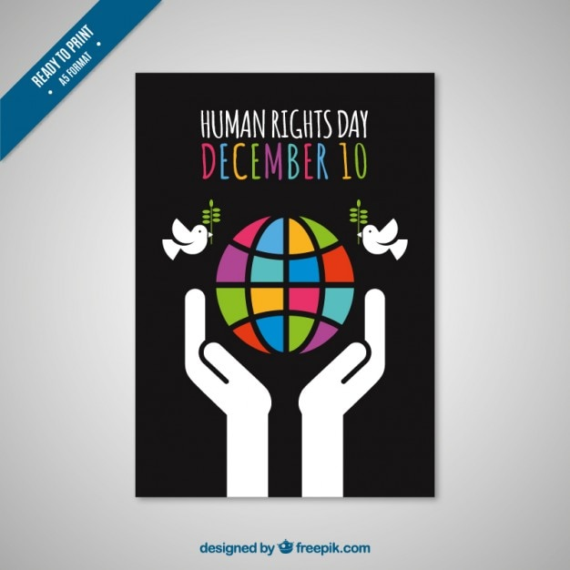 Black Human Rights Day Card Vector Free Download