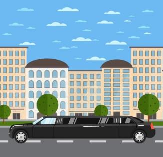 Black luxurious limousine on road in city Premium Vector