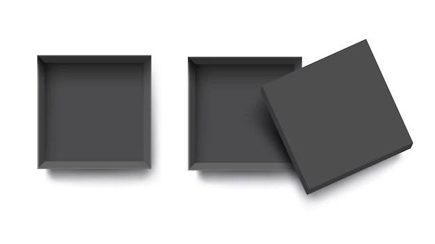 Download Black top view empty open box for mockup design | Premium ...