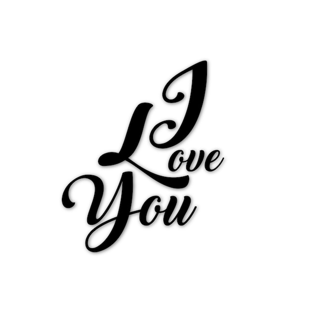 Download Black and white valentine i love you text | Free Vector