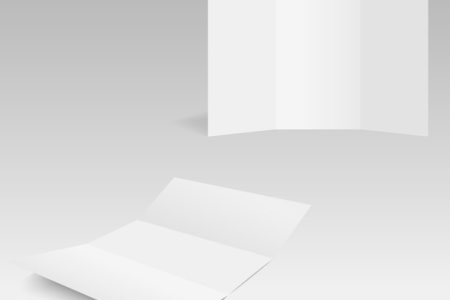 Blank Trifold white template paper with soft shadows  Vector     Blank Trifold white template paper with soft shadows  Premium Vector