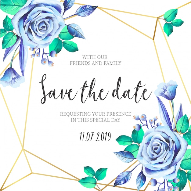 Blue Flowers With Golden Frame Wedding Invitation Vector
