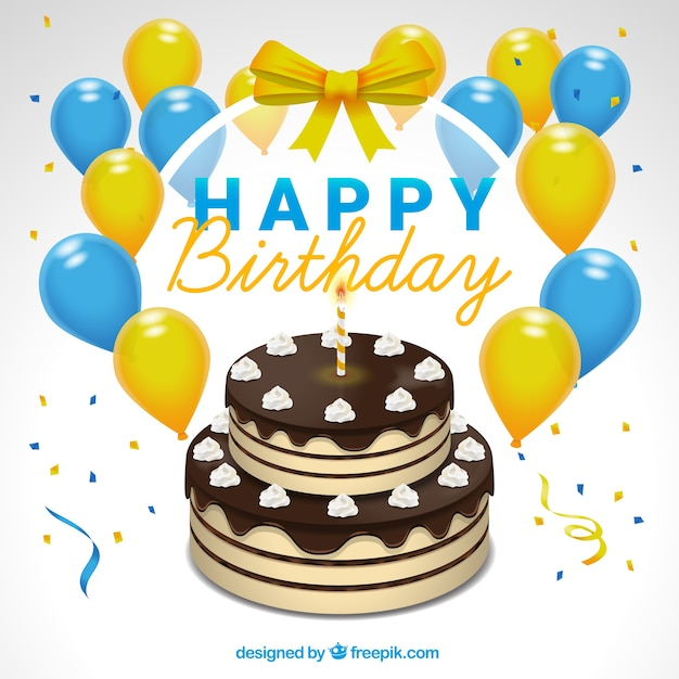 Free Vector Cake Background With Balloons