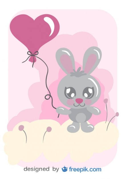 Cartoon Bunny With A Heart Shaped Balloon Vector Free