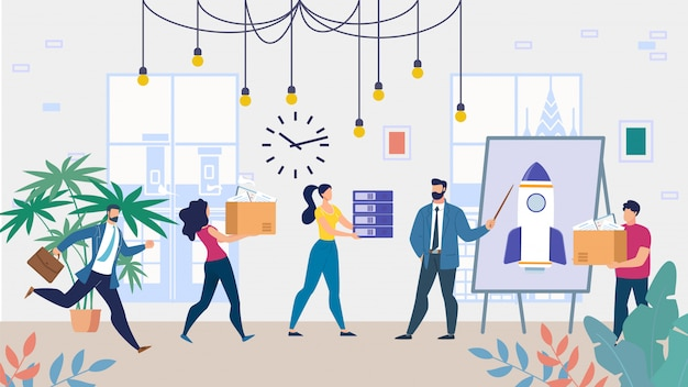 Cartoon business team working on startup project | Premium Vector