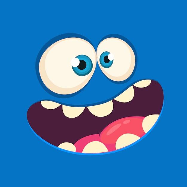 Cartoon Monster Face Avatar Halloween Monster Premium Vector
