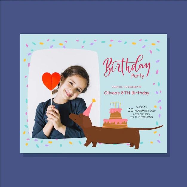 birthday invitation template cute girl