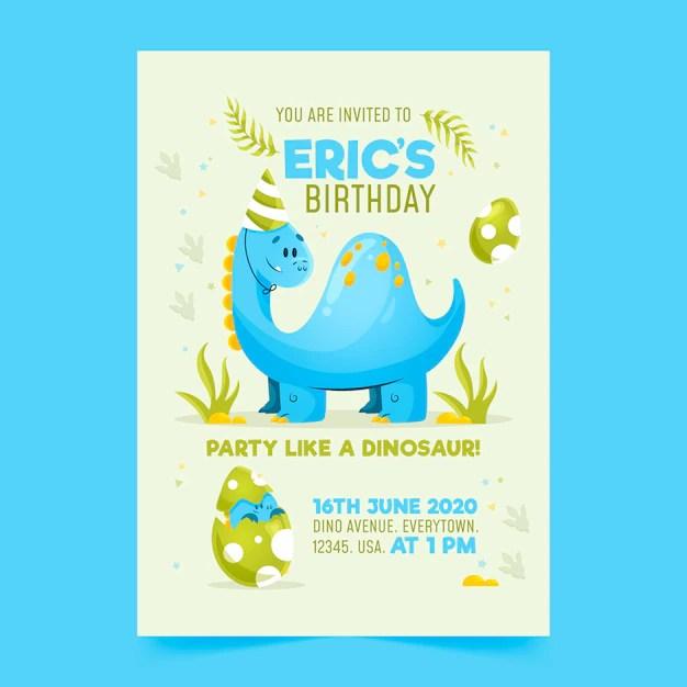 birthday invitation template with dinosaur