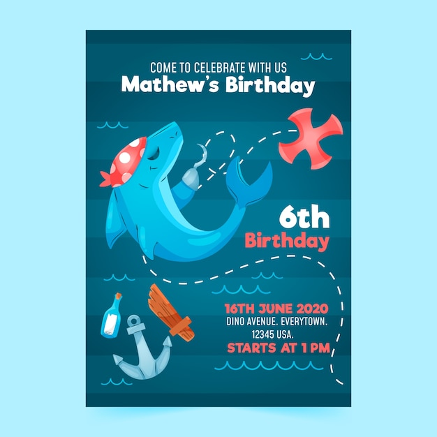 birthday invitation template with shark