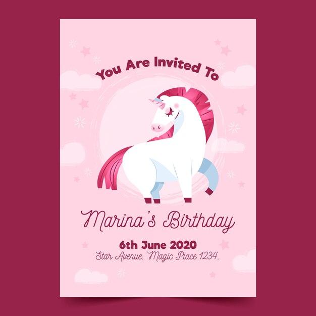 birthday invitation with unicorn template