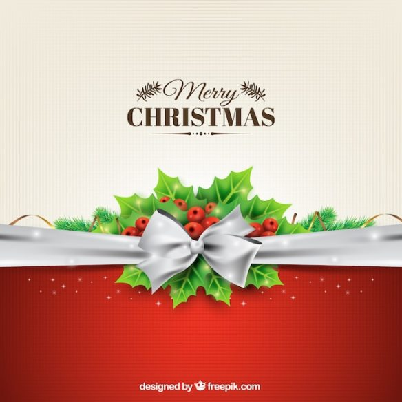 Christmas background with a silver bow Free Vector