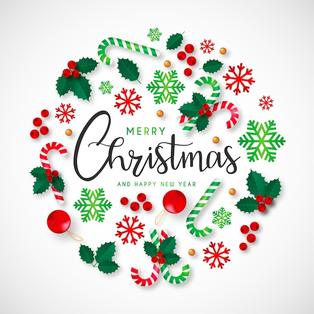 Christmas Background with Beautiful Ornaments Free Vector