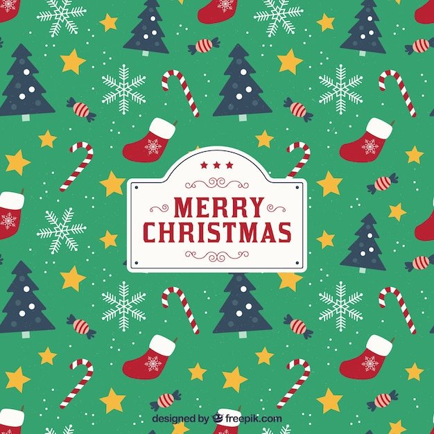 Christmas Background With Pattern Style Vector Free Download