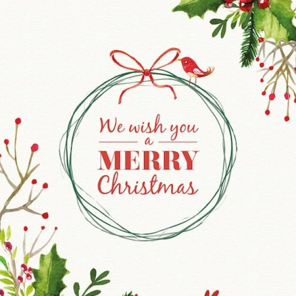 Christmas card with watercolor mistletoe decoration Free Vector
