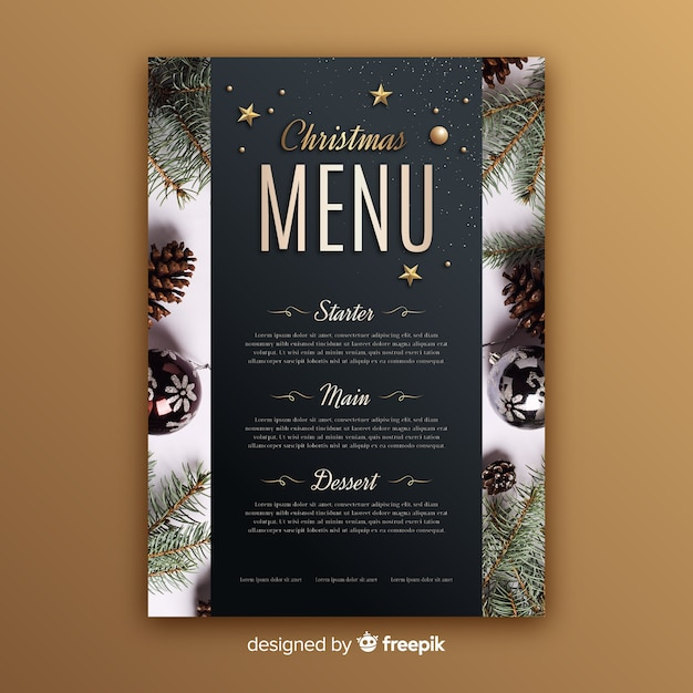 Christmas menu template with photo Free Vector