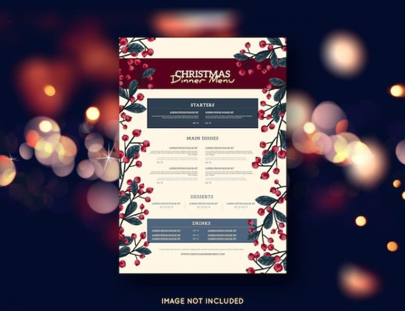 Christmas menu template Free Vector