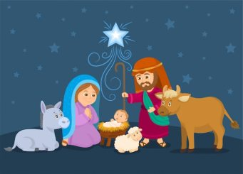 Premium Vector | A christmas nativity scene, with baby jesus, mary and joseph.