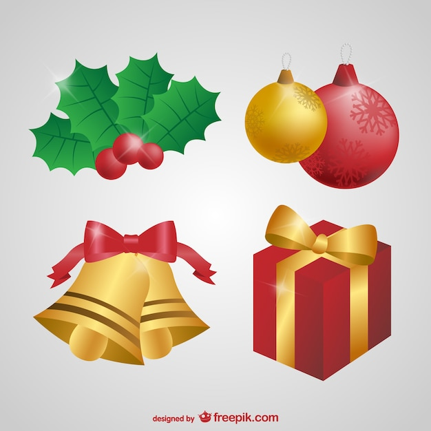 Christmas Ornaments Pack Vector Free Download
