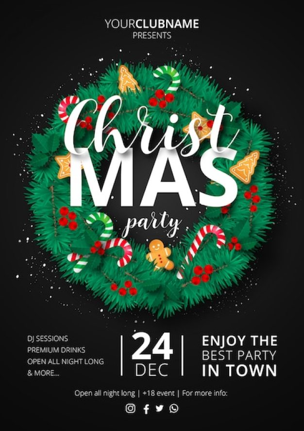 Christmas Party Poster with Ornamental Wreath Free Vector