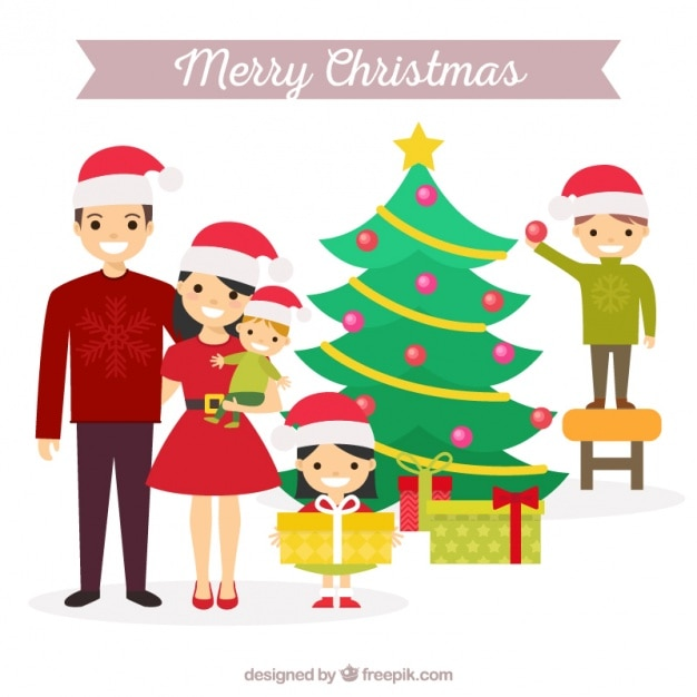 Christmas Scene With Cheerful Family And Tree Vector