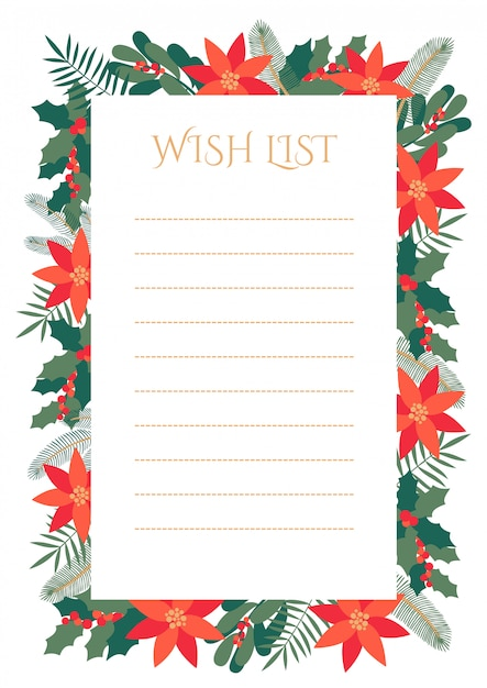 Premium Vector Christmas Wish List With Decorative Frame Of Winter Leaves And Flowers