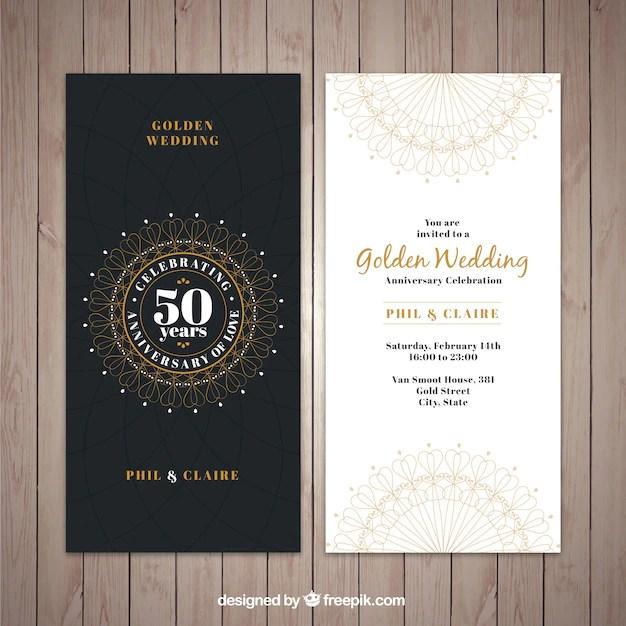 Clic Golden Wedding Invitation Free Vector