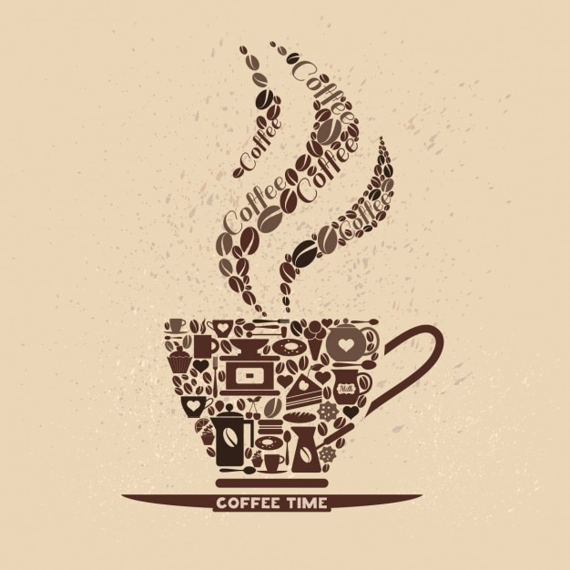 Creative Coffee Cup Design Made of Coffee Icons Free Vector