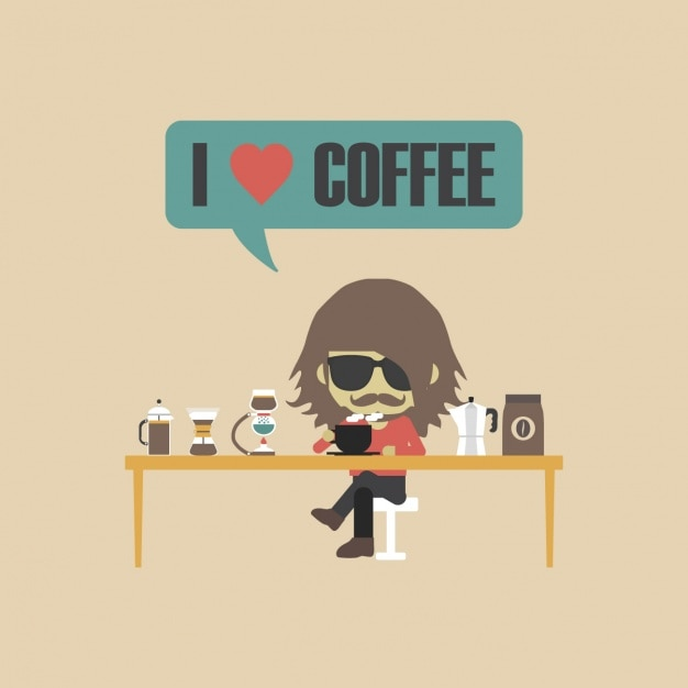 Download Coffee lover character Vector   Free Download