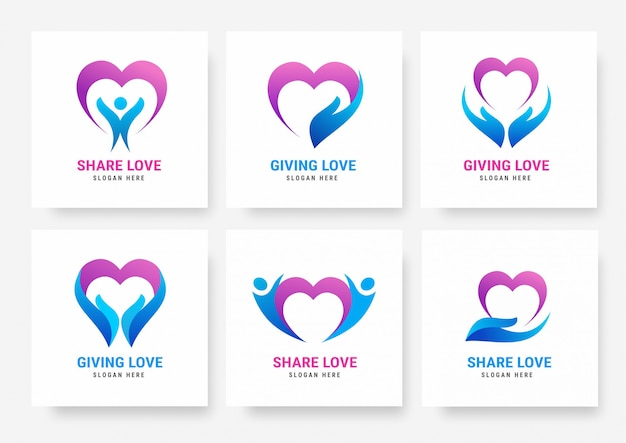 Download Premium Vector   Collection of share love logo templates