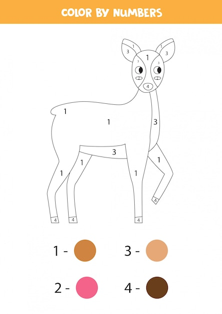 Premium Vector Coloring Page With Cute Cartoon Roe Deer Color By Numbers