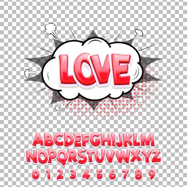 Download Comic lettering font love 3d. vector alphabet. | Premium ...