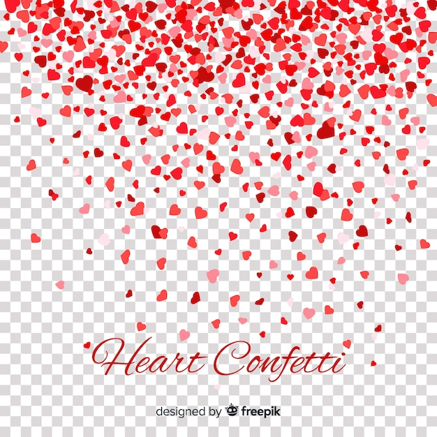 Red & Pink Hearts Confetti Background Free Vector