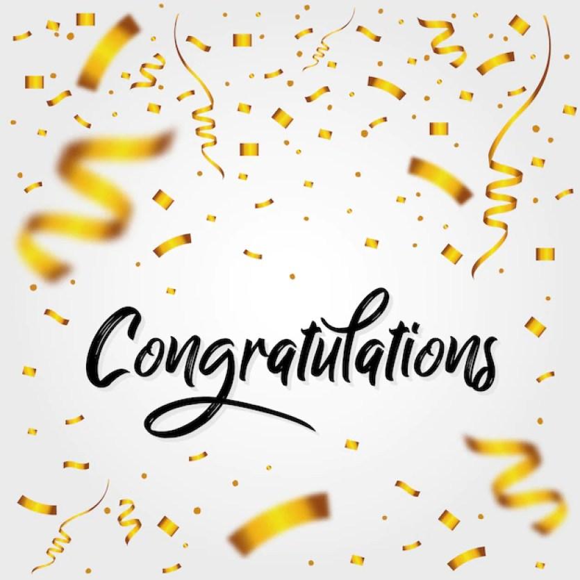 Premium Vector | Congratulations message with confetti