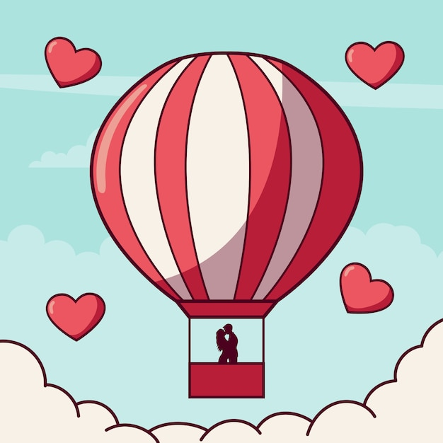 Download Couple in love in a hot air balloon   Premium Vector