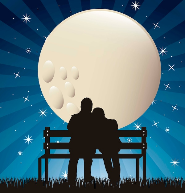 Download Couple silhouette in the night with moon vector ...