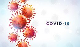 Covid-19. coronavirus outbreak design with falling virus cell and typography letter on light background. vector 2019-ncov corona virus illustration on dangerous sars epidemic theme for banner. Free Vector