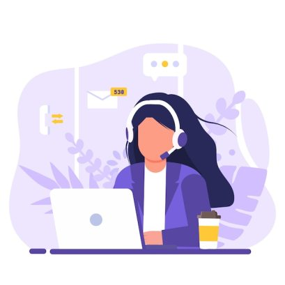 Premium Vector   Customer service, woman with long hair sitting at table  with a laptop, with headphones and a microphone