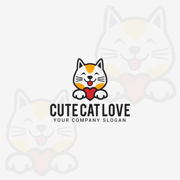 Download Cute cat love logo | Premium Vector
