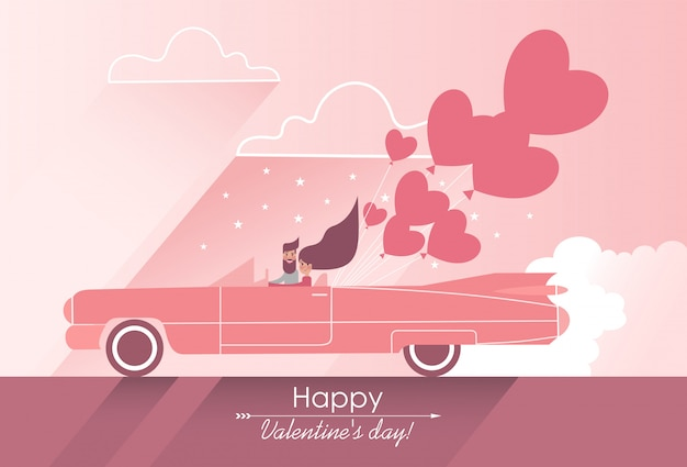 Download Cute couple in love on a pink car with heart-shaped ...