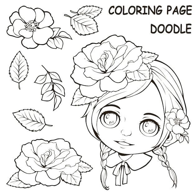 Premium Vector Cute Girl And Flower Coloring Pages