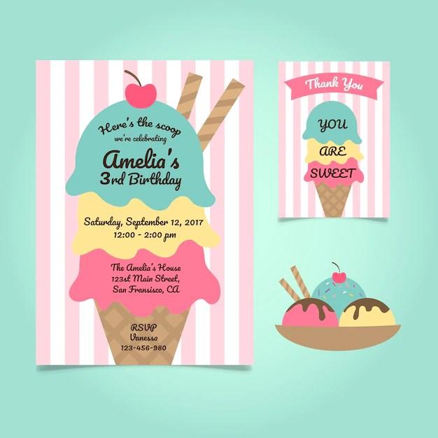 free vector cute ice cream birthday