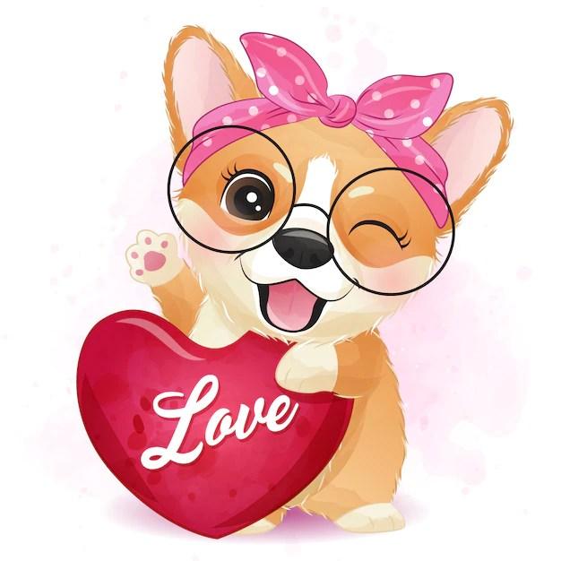 Download Cute little corgi hugging a love | Premium Vector