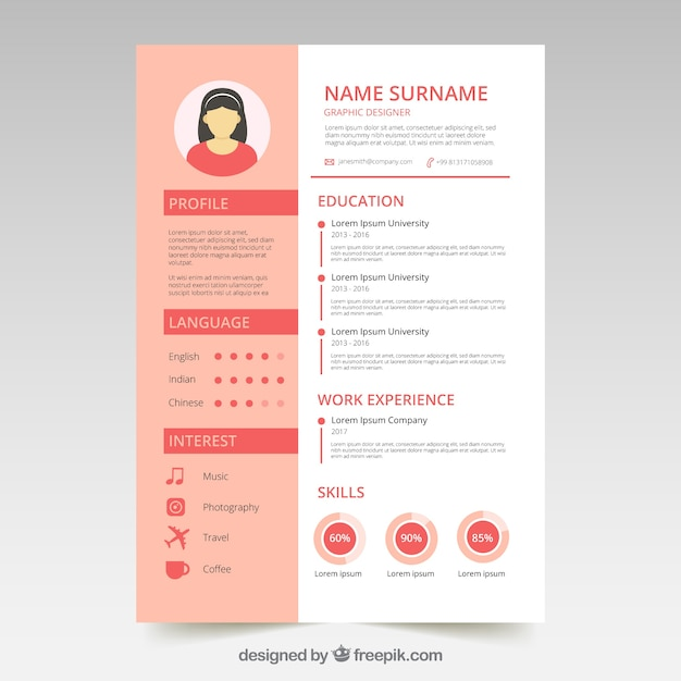 Cute Resume Template With Graphics Vector Free Download