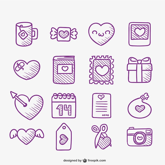 Cute Valentine Doodles Pack Vector Free Download