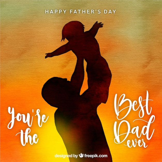 Best Dad Ever - Father Carrying Baby Sunset Watercolor Bckground Father's Day Premium Vector