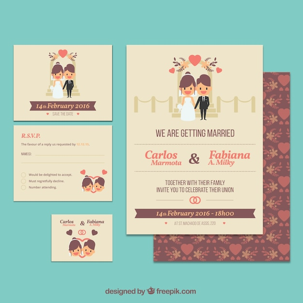 Cute Wedding Invitations Collection Free Vector