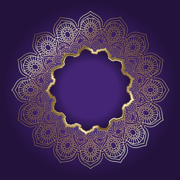 Decorative Background With Golden Mandala Frame Vector